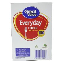 Great Value White Forks, 100 ct