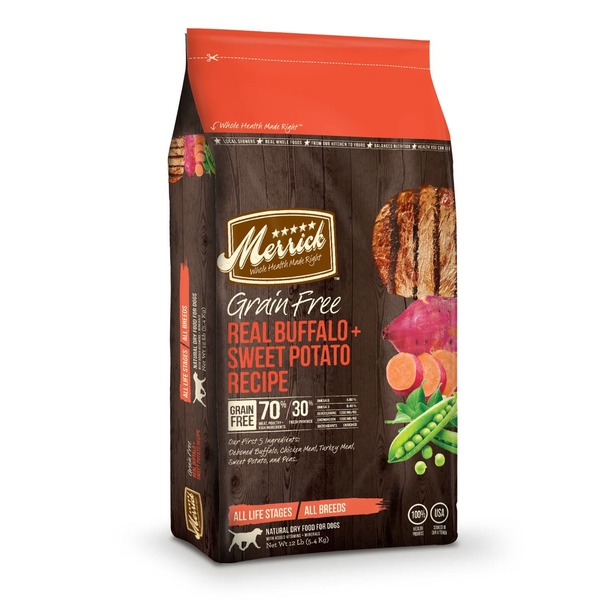 Merrick Grain Free Real Buffalo & Sweet Potato Dry Dog Food 12 Lbs.