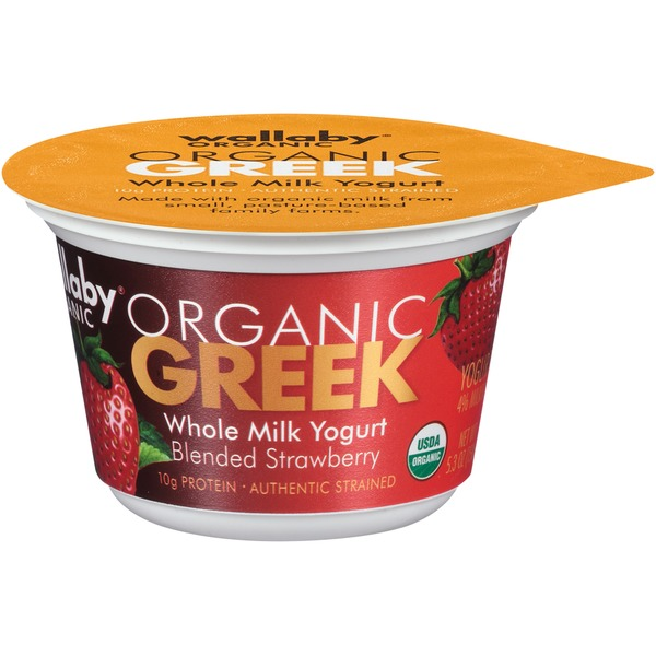 Wallaby Organic Greek Whole Milk Blended Strawberry Yogurt