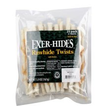 Exer-Hides Rawhide Twists with Chicken, 25pk