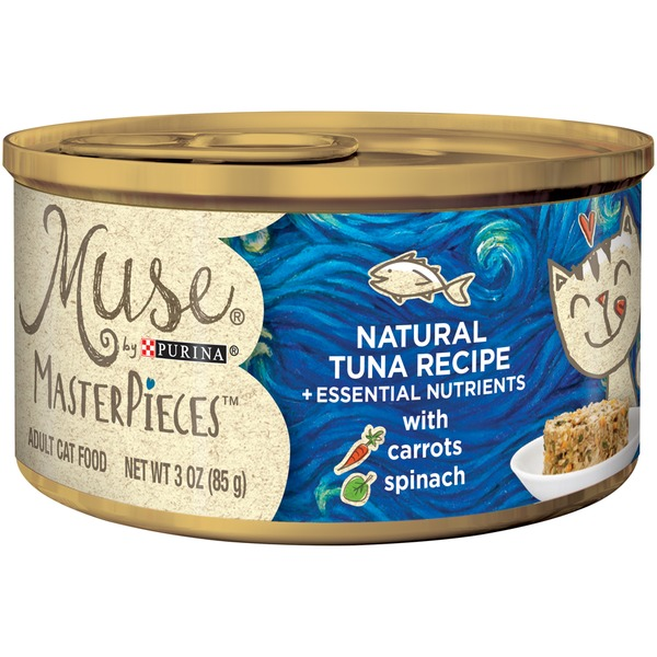 Muse Wet MasterPieces Natural Tuna Recipe accented with Carrots & Spinach Cat Food