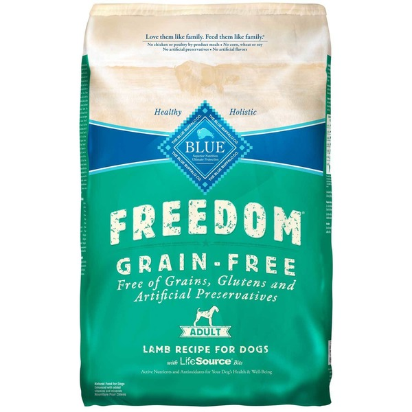 Blue Buffalo Freedom Grain Free Adult Lamb Recipe for Dogs With Lifesource Bits Natural Food for Dogs