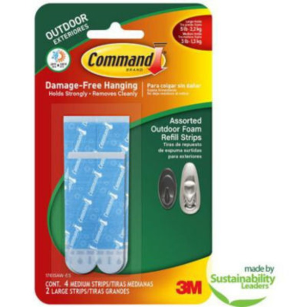 3M Command Outdoor Medium And Large Foam Strip Refills