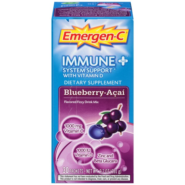 Emergen-C Immune+ Blueberry-Acai Drink Mix Dietary Supplement