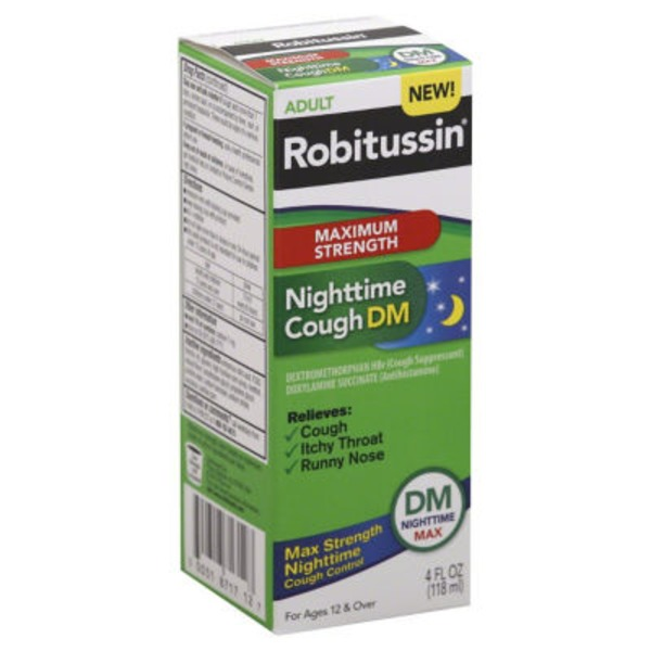 Robitussin Adult DM Nighttime Max Maximum Strength Liquid Cough Suppressant/Antihistamine