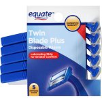 Equate Men's Twin Blade Plus Disposable Razors, 5 Ct