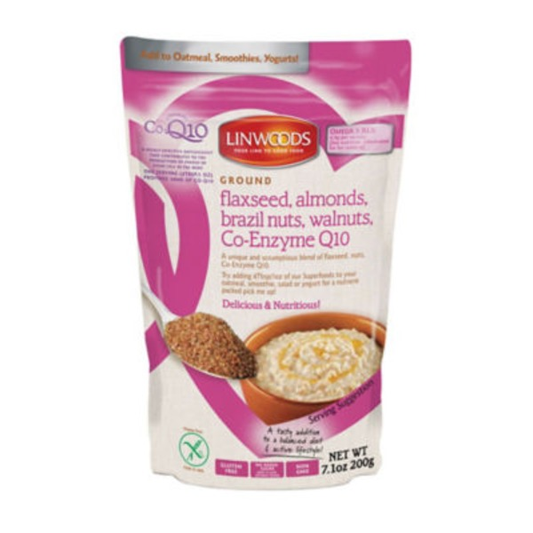 Linwoods Flaxseed, Almonds, Brazil Nuts, Walnuts, Co-Enzyme Q10, Ground, Gluten Free, Pouch
