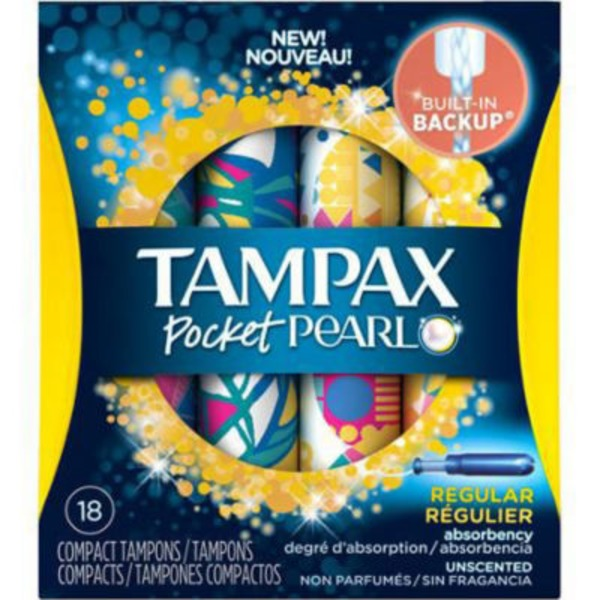 Tampax Pearl Tampax Pocket Pearl Compact Plastic Tampons, Regular Absorbency, Unscented 18 Count  Feminine Care