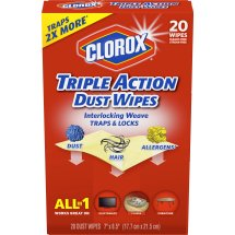 Clorox Triple Action Dust Disinfecting Wipes, 20 Wipes