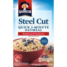 Quaker® Steel Cut Quick 3-Minute Oatmeal, Blueberries & Cranberries, 8 Count, 1.62 oz. Packets