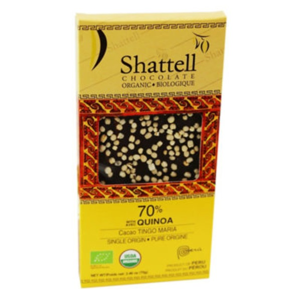 Shattell Chocolate 70% Quinoa Dark Chocolate Bar