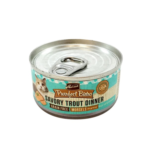 Merrick Purrfect Bistro Savory Trout Dinner Morsels In Gravy Cat Food