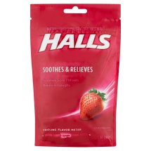 Halls Strawberry Flavor Soothes & Relieves Cough Suppressant/Oral Anesthetic Drops, 30 count