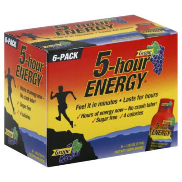 5-Hour Energy Drink Dietary Supplement Grape - 6 CT