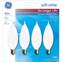 GE soft white 60 watt bent tip 4-pack