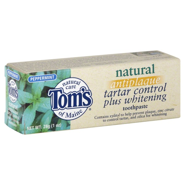 Tom's of Maine Fluoride Free Natural Antiplaque & Whitening Toothpaste Peppermint
