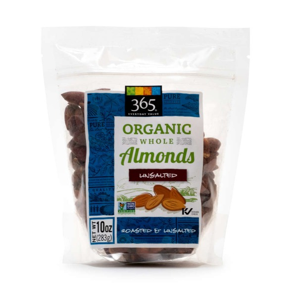 365 Organic Unsalted Whole Roasted Almonds