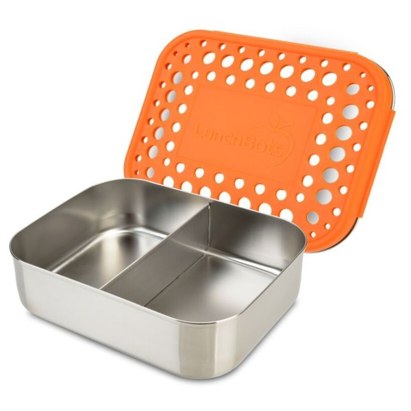 LunchBots Orange Duo Stainless Container