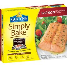 Gorton's Simply Bake Roasted Garlic & Butter Salmon Fillets, 2 count, 8.2 oz