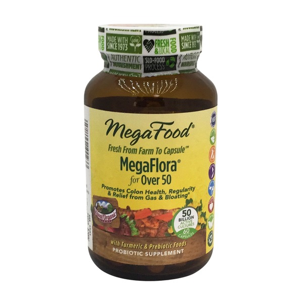 MegaFood Megaflora for Over 50 Probiotic Supplement, Capsules