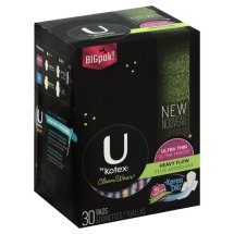 U by Kotex CleanWear Ultra Thin Pads with Wings, Heavy Flow, Unscented (Choose Your Count)