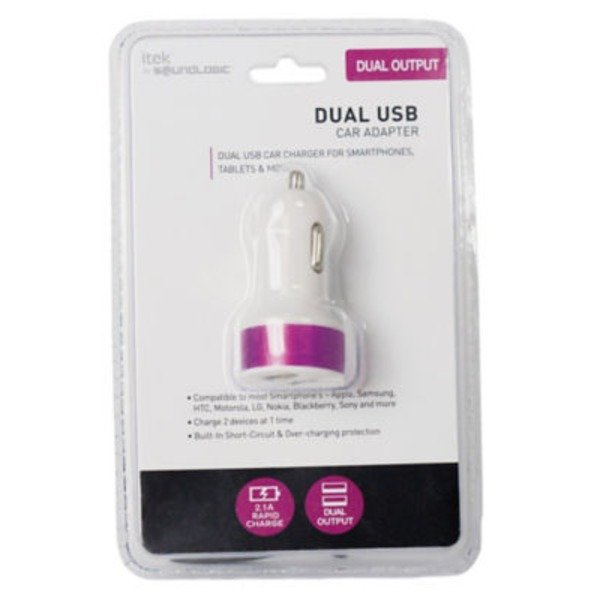 Itek Dual USB Car Charger Purple