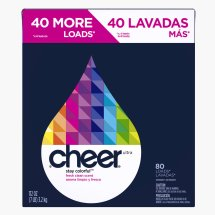 Cheer Stay Colorful Powder Laundry Detergent, Fresh Clean, 80 Loads 112 oz