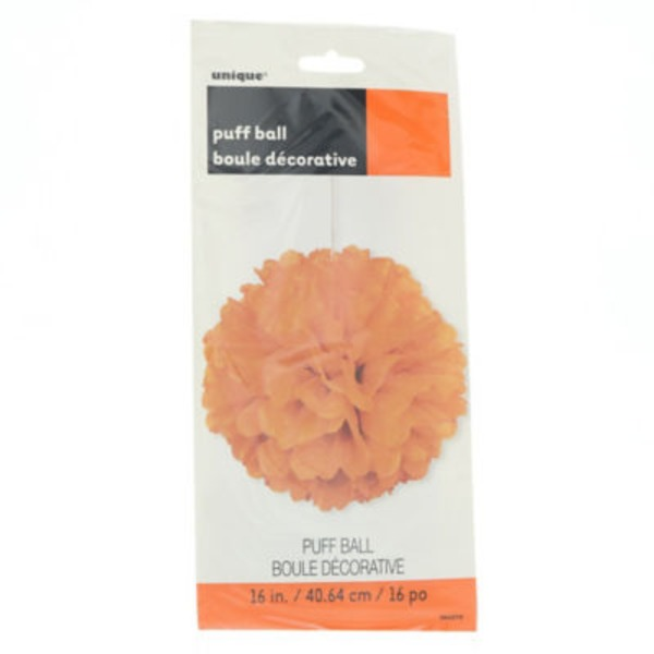 Unique 16 In. Puff Decor Pumpkin Orange