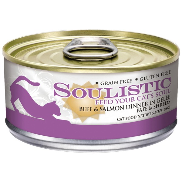 Soulistic Beef & Salmon Dinner In Gelee Pate & Shreds Cat Food