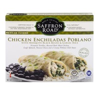Saffron Road Chicken Enchiladas Poblano with Mesquite Black Beans & Garlic Rice