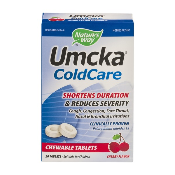Nature's Way Umcka Cold Care Chewable Tablets Cherry Flavor - 20 CT