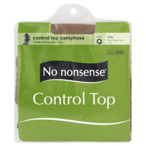 No Nonsense Control Top Reinforced Toe Pantyhose Tan Size Q