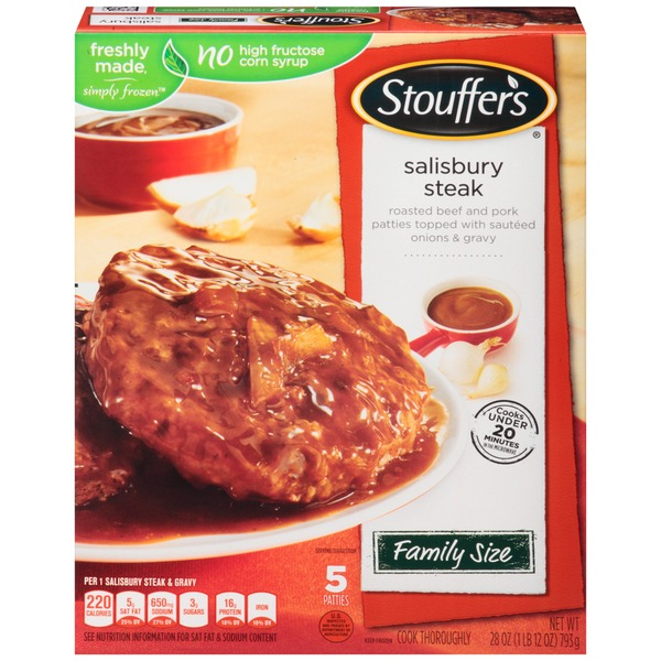 Stouffer's Family Size Roasted beef and pork patties topped with onions and gravy Salisbury Steak