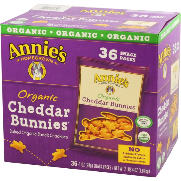 Annie's Homegrown Organic Cheddar Bunnies Snack Packs 36 ct Club Pack Cheddar Bunnies