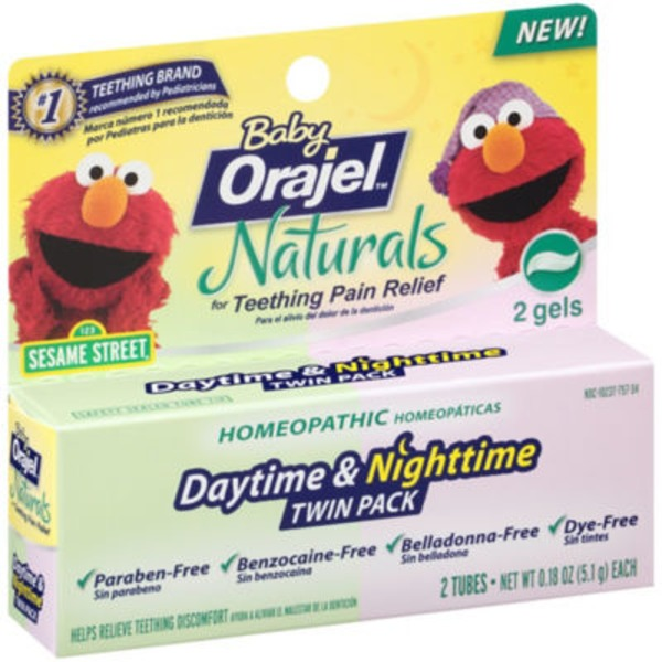 Orajel Baby Naturals Daytime & Nighttime Twin Pack Gel Teething Pain Relief