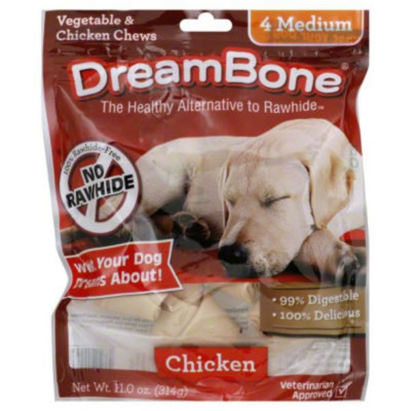 DreamBone Vegetable & Chicken Chews Medium - 4 CT