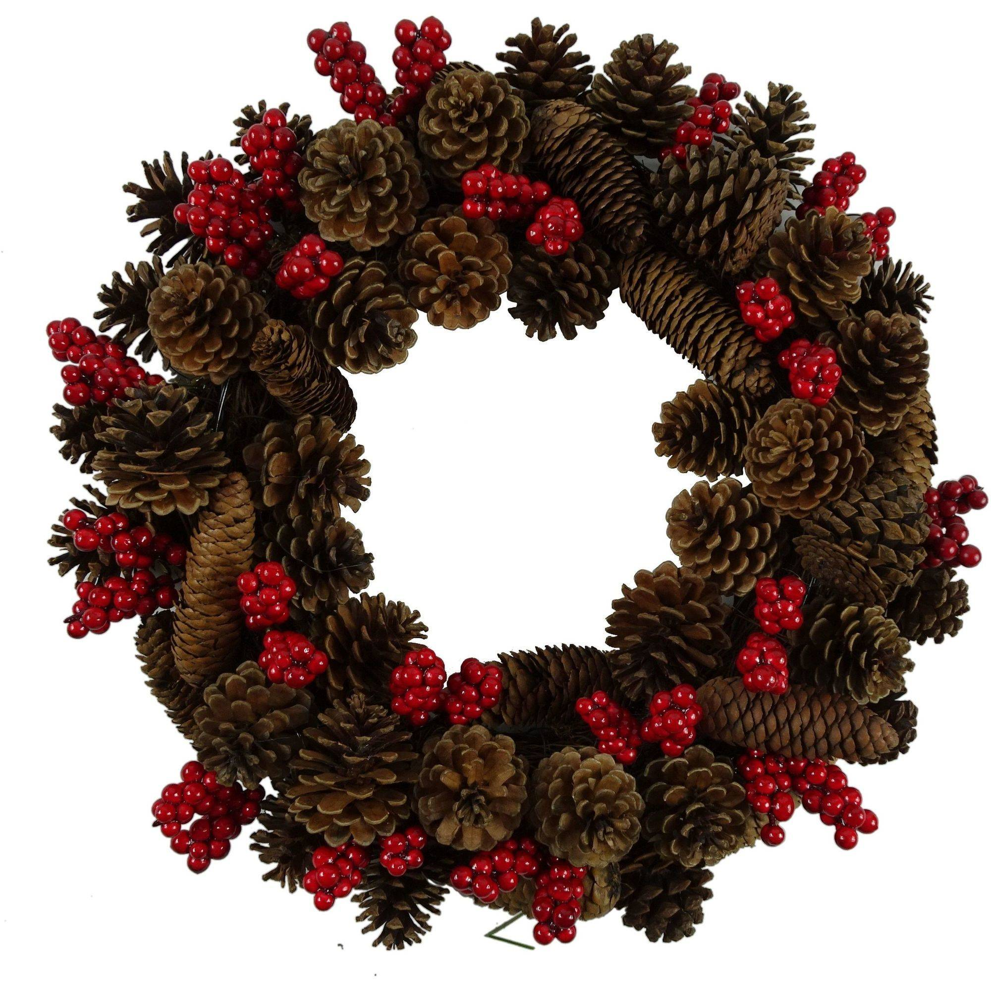 Holiday Time Christmas Decor 17 Pinecone / Beery Wreath