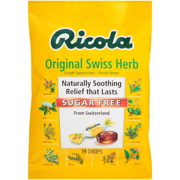 Ricola Sugar Free Original Swiss Herb Throat Drops Cough Suppressant