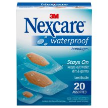 Nexcare Waterproof Clear Bandages, Protects Cuts, Scrapes, Abrasions, and Blisters, 20 Clear Bandages, Assorted Sizes