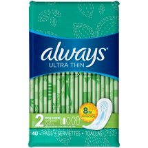 Always Ultra Thin Size 2 Long Super Pads Without Wings, Unscented
