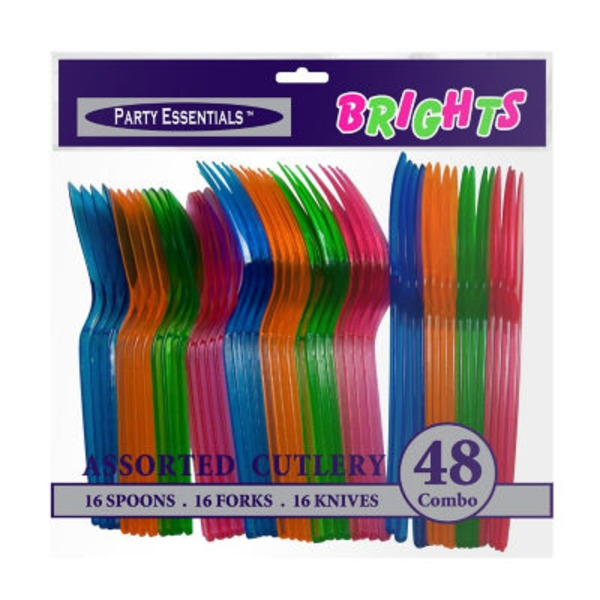 Party Essentials Assorted Brights Plastic Cutlery