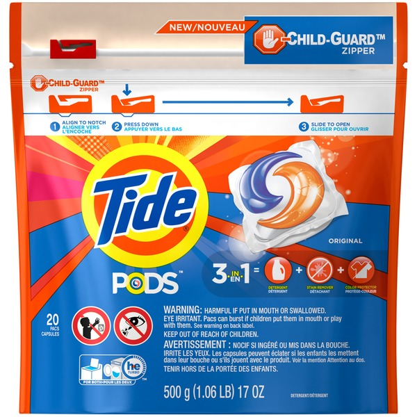 Tide PODS HE Turbo Laundry Detergent Pacs, Original Scent, 20 count Laundry