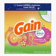 Gain Powder Laundry Detergent with Febreze Freshness, Hawaiian Aloha Scent, 95 loads, 150 oz