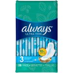 Always Ultra Thin Size 3 Extra Long Super Pads With Wings, Unscented, 28 count