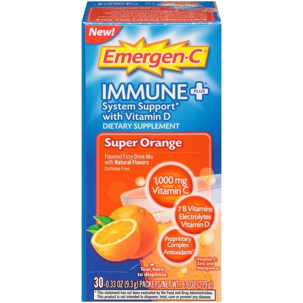 Emergen-C Immune+ Super Orange Drink Mix Dietary Supplement