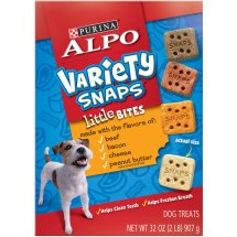 Purina ALPO Variety Snaps Little Bites Dog Treats with Beef, Bacon, Cheese & Peanut Butter Flavors 32 oz. Box