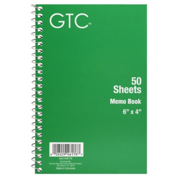 GTC 50 Sheets Memo Book 6 in X 4 in