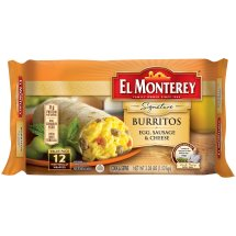 El Monterey Breakfast Supreme Egg, Sausage & Cheese Burritos 12 ct Bag