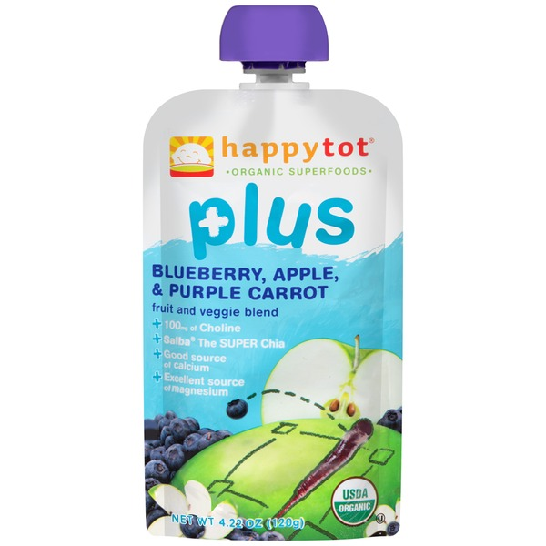 Happy Tot Plus Blueberry, Apple, & Purple Carrot Fruit and Veggie Blend Snack
