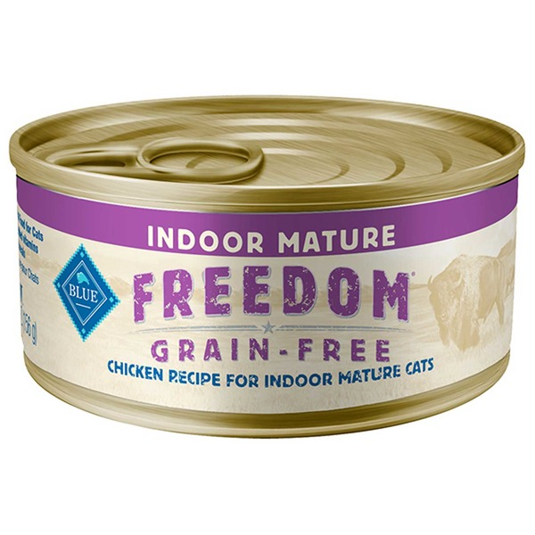 Blue Buffalo Freedom Grain Free Indoor Chicken Senior Canned Cat Food Case Of 24 5.5 Oz.